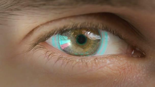 A számítógépes adatokat és a szöveget overlayed szem részlete. Nagyítás centr. diagramok
