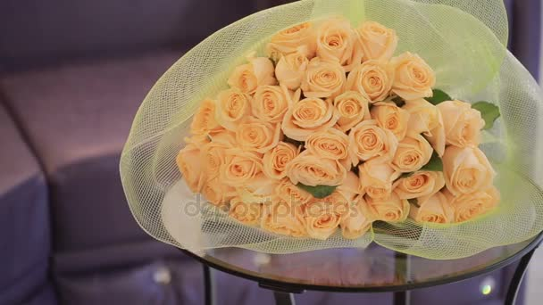 gentle big bouquet of peach roses, close-up