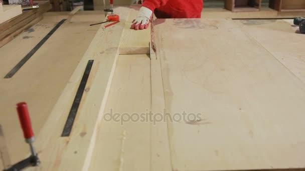 Cutting Wood in Carpenter workshop. Circular Saw.