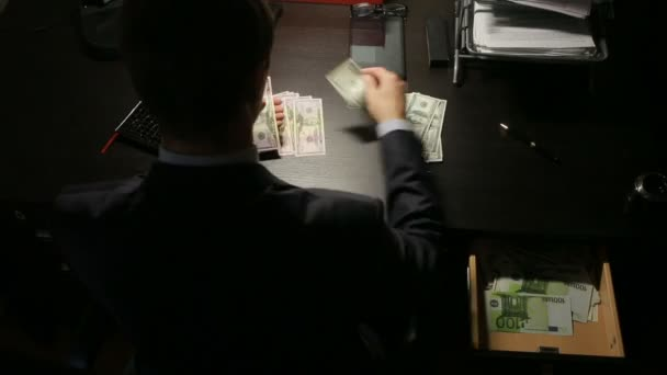 bribery and fraud concept - close up of businessman taking money. time lapse