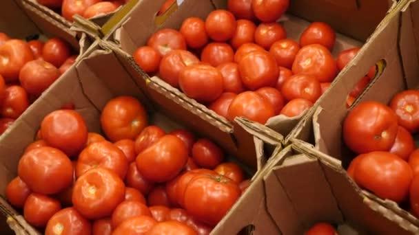 Žena v supermarketu na zeleninové police, kupuje zeleniny a ovoce. Člověk si vybere rajče, pomalý pohyb