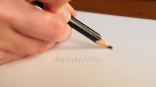 Artists hands drawing wooden pencil. 4k, slow-motion, close-up