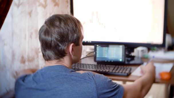 A man sitting at home at the kitchen table, watching changes in the currency exchange chart, looking at the computer monitor. freelancing, 4k, background blur