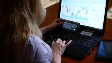 a woman in a bathrobe and with wet hair sitting at home on the couch, watching changes in the currency exchange chart, looking at the computer monitor, freelancing, 4k, blurring the background