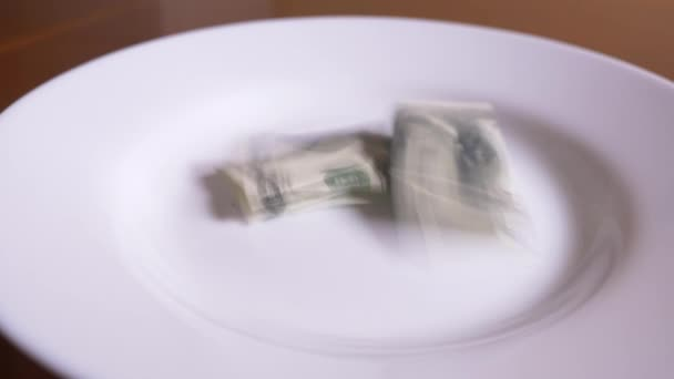 someone throws dollars into a plate. eat dollars. 4k.