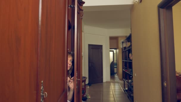 the naked woman is hiding in the wardrobe. she goes out of the closet and runs away from the lovers house through the front door. 4k,