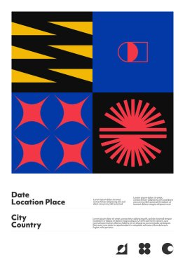 Postmodern graphic design of A4 size vector cover mockup created in modernism and minimalistic brutalism style, useful for poster art, magazine front page, decorative print, web banner artwork.