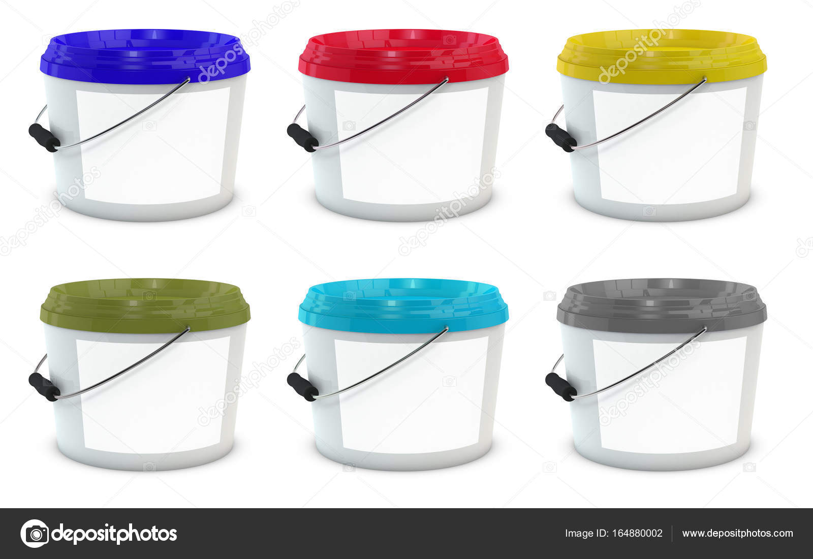 Set of white plastic paint buckets Stock Photo srumiantsev