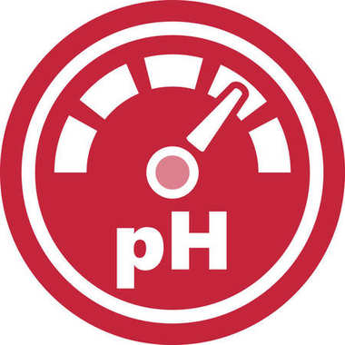 Increase of the pH Red Round Icon