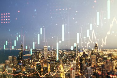 Abstract virtual financial graph hologram on Chicago cityscape background, financial and trading concept. Multiexposure