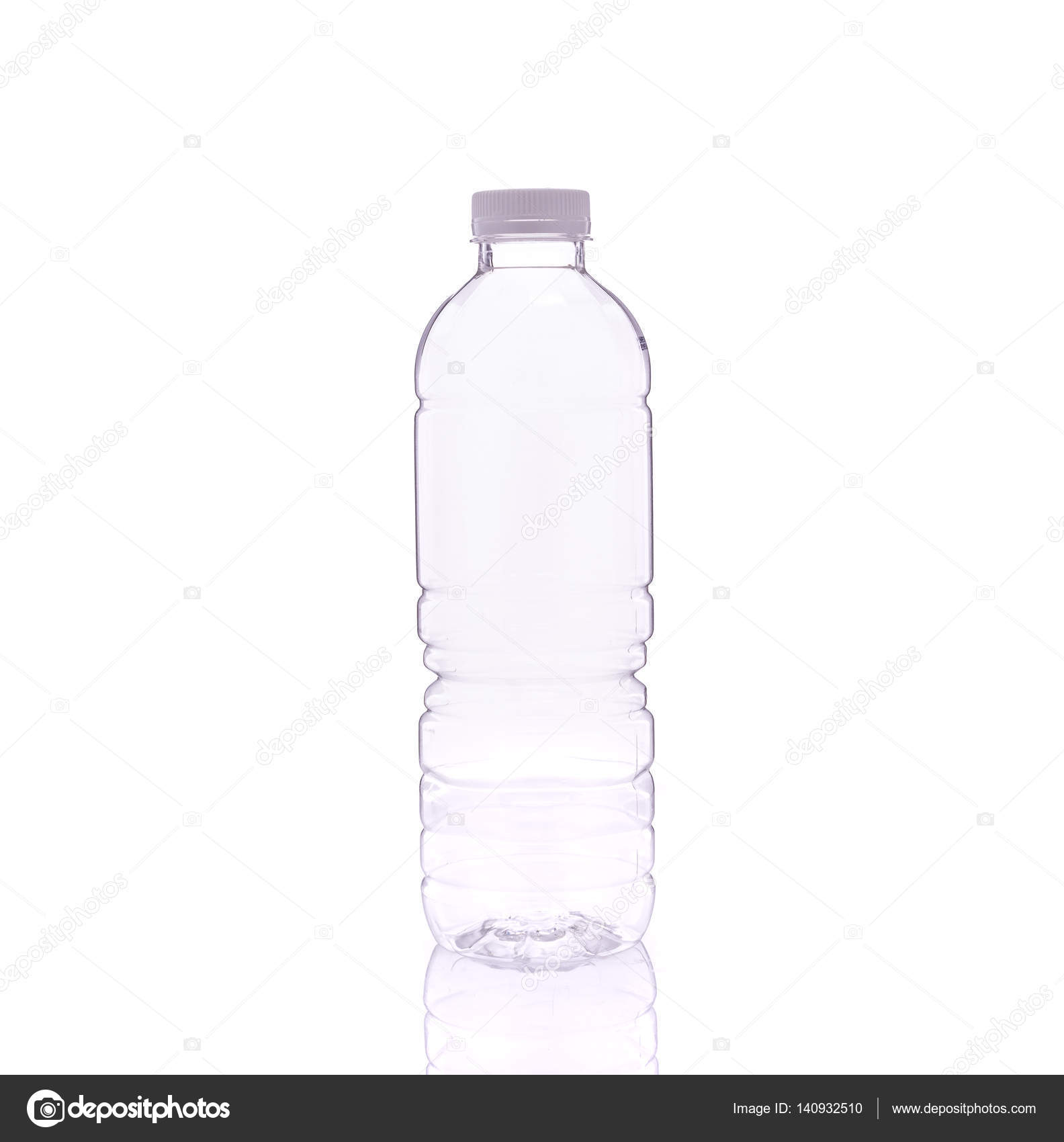 empty clear drinking water bottle studio shot isolated on white