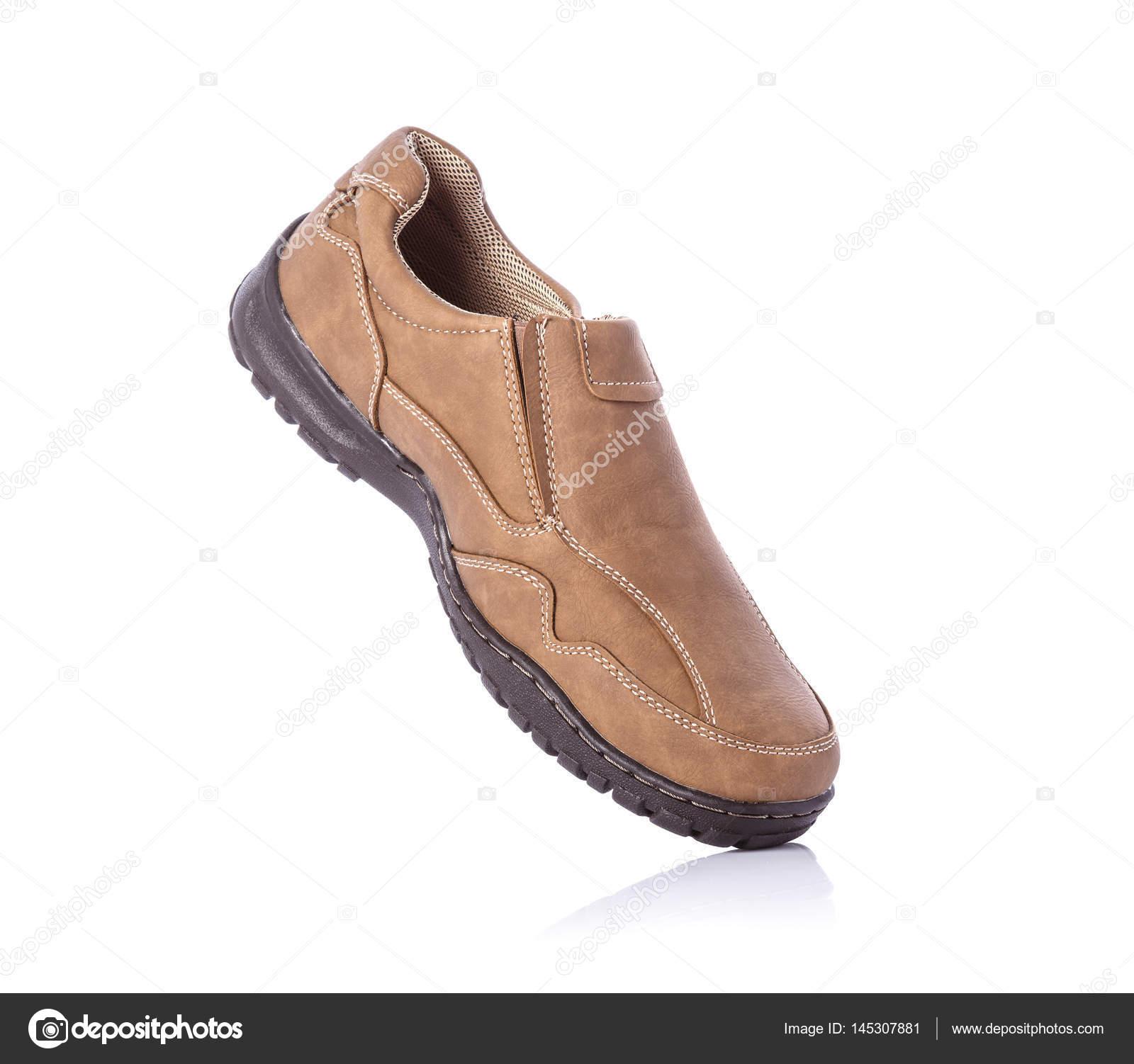 Neue braune Männer Schuh. Studio gedreht isoliert auf weiss — Stockfoto 032d3085bf