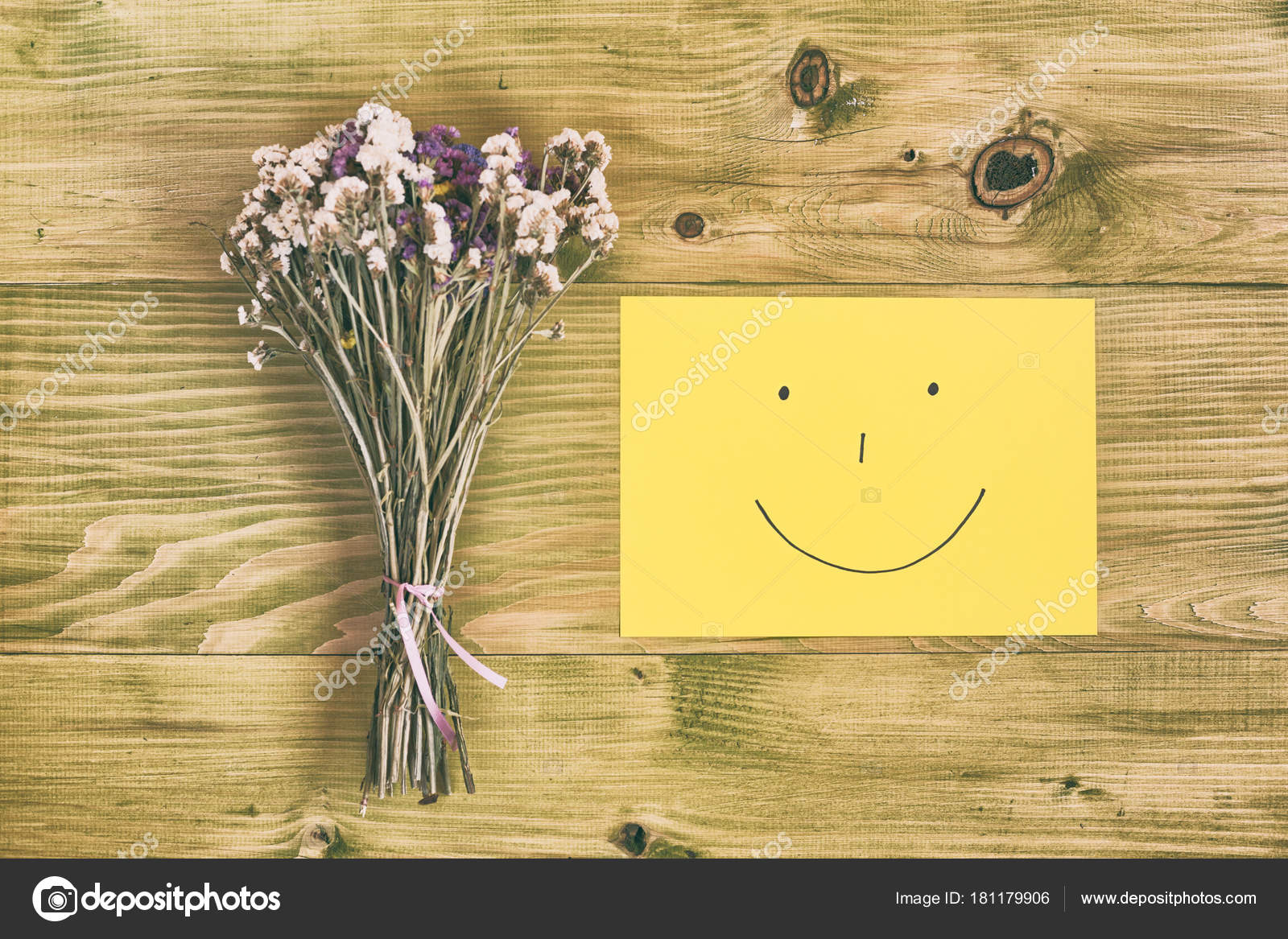 Beautiful Bouquet Flowers Smiley Face Wooden Table Image ...