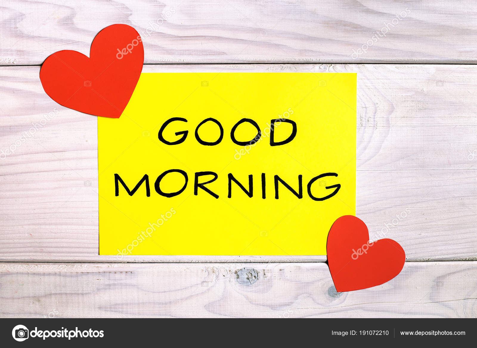 Text Good Morning Heart Shapes Wooden Table Image Intentionally