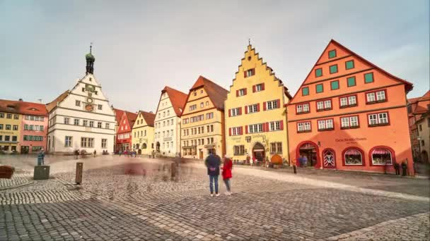 Rothenburg ob der Tauber, Germany - February 22, 2020: Street view of Rothenburg ob der Tauber, a well-preserved medieval old town in Middle Franconia in Bavaria on popular Romantic Road, time lapse