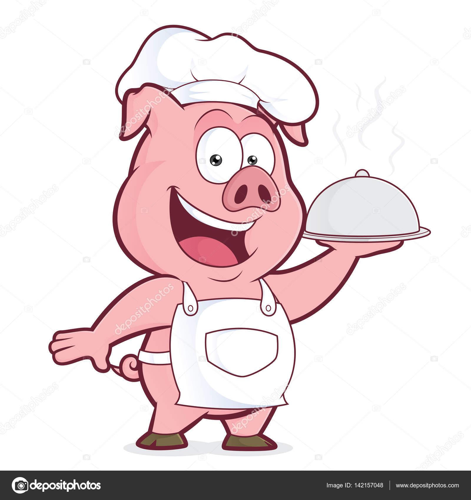 Koch bei der arbeit clipart  Schwein Koch Holding silberne cloche — Stockvektor © sundatoon ...