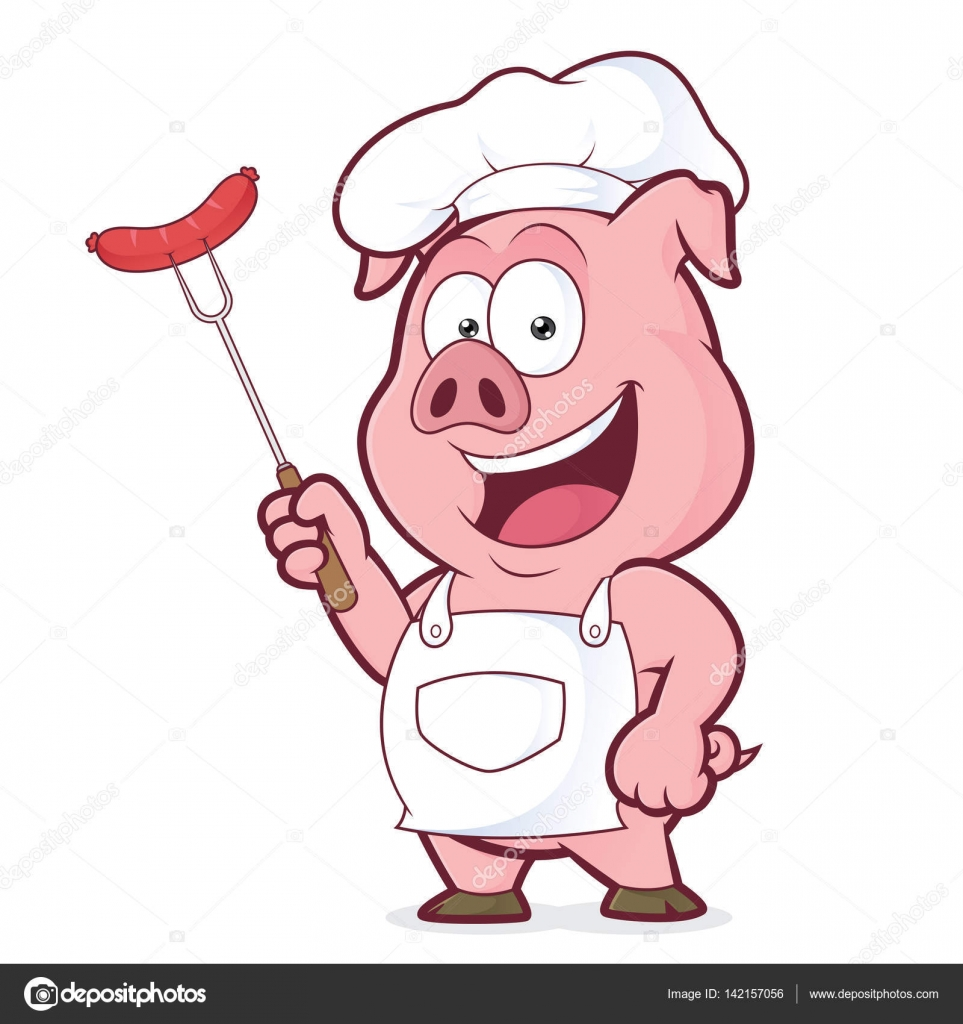 pig chef holding a sausage on fork stock vector Pig Roast Flyer Pig Cooking Clip Art
