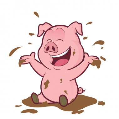 Pig playing in the mud