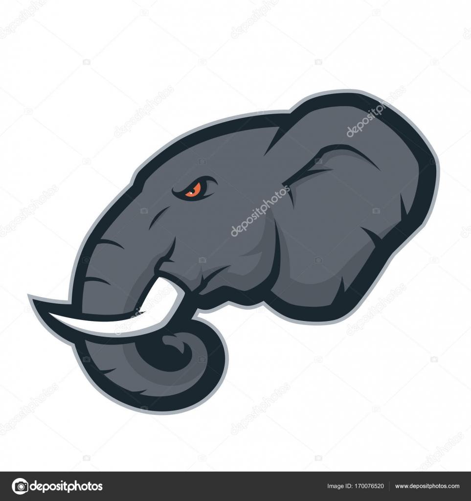 Logotipo de mascota cabeza de elefante — Archivo Imágenes ...