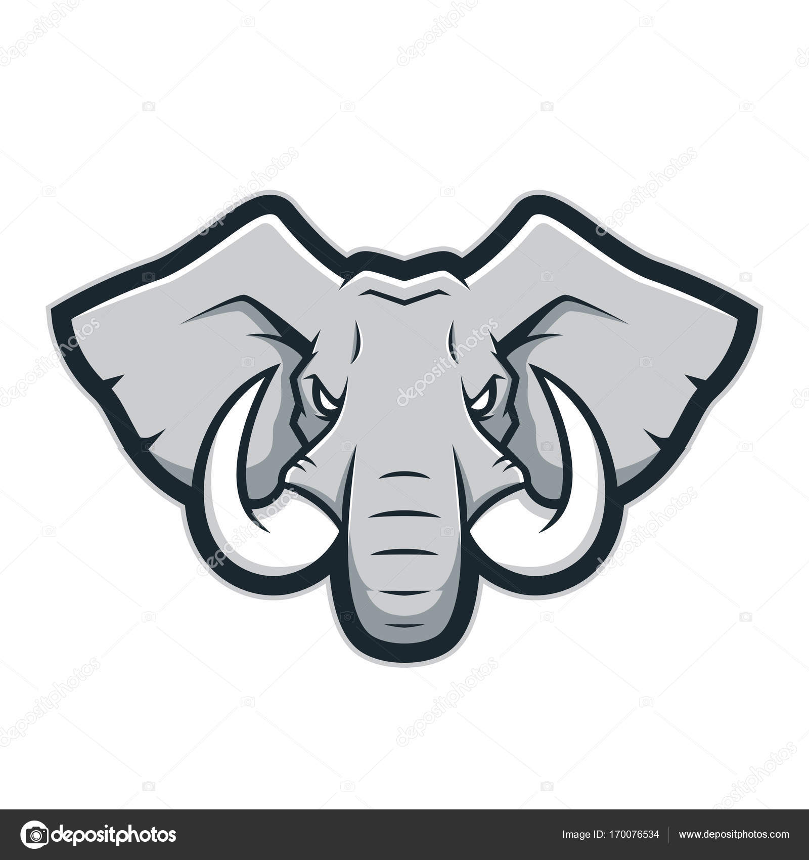Elephant Head Side Retro Vector Image