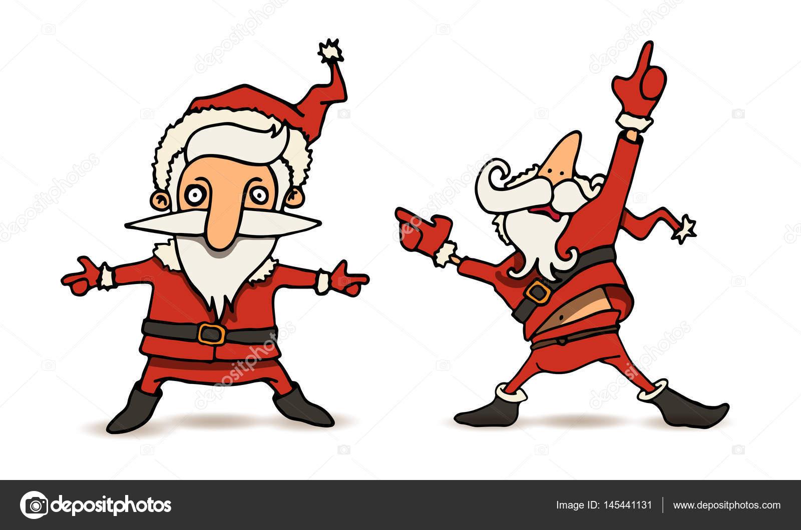 cartoon illustration of dancing santa claus in various. Black Bedroom Furniture Sets. Home Design Ideas