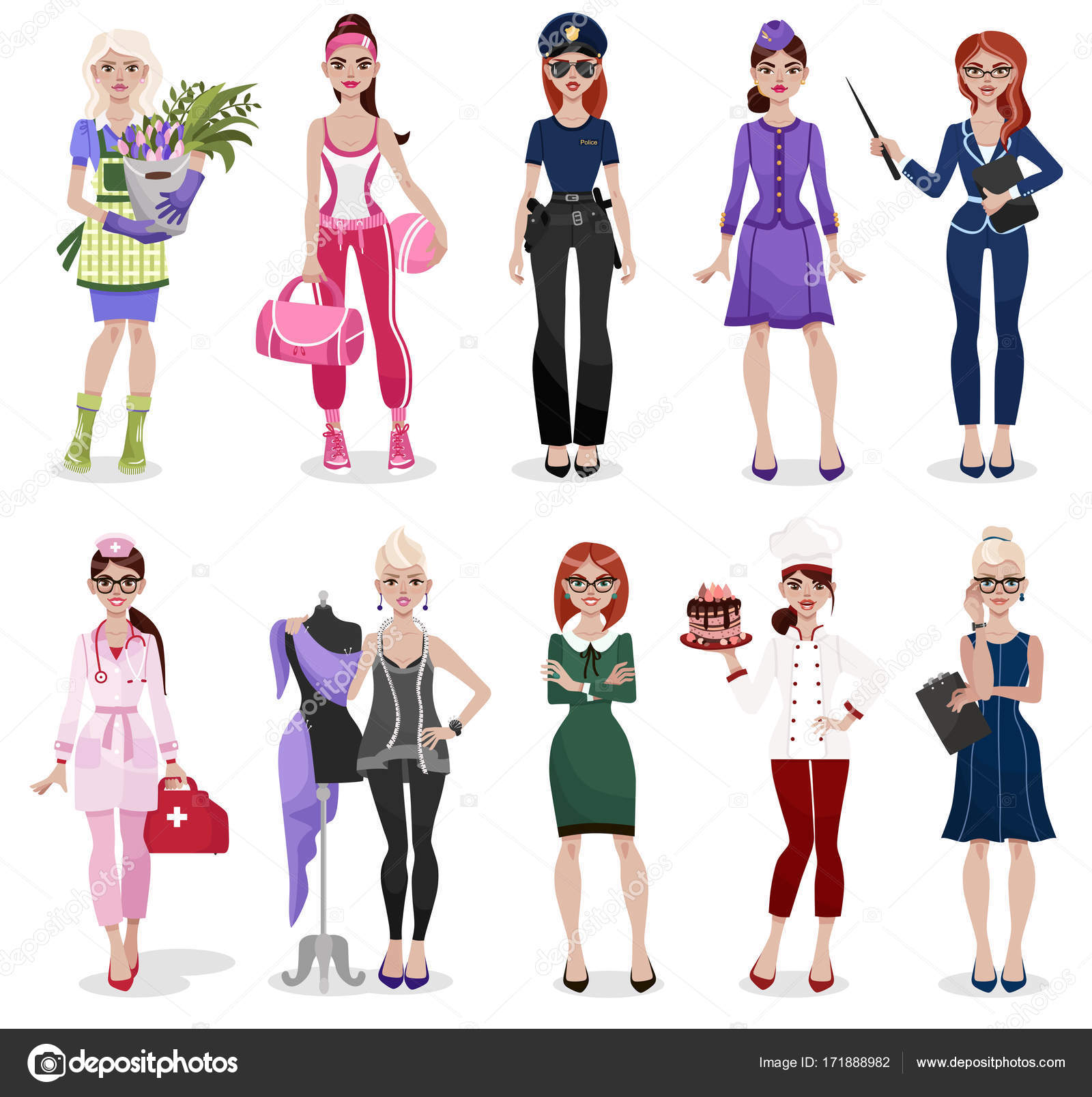 Set Different Professions Doctor Teacher Fashion Designer Florist Police Officer Stock Vector C Alushka 171888982