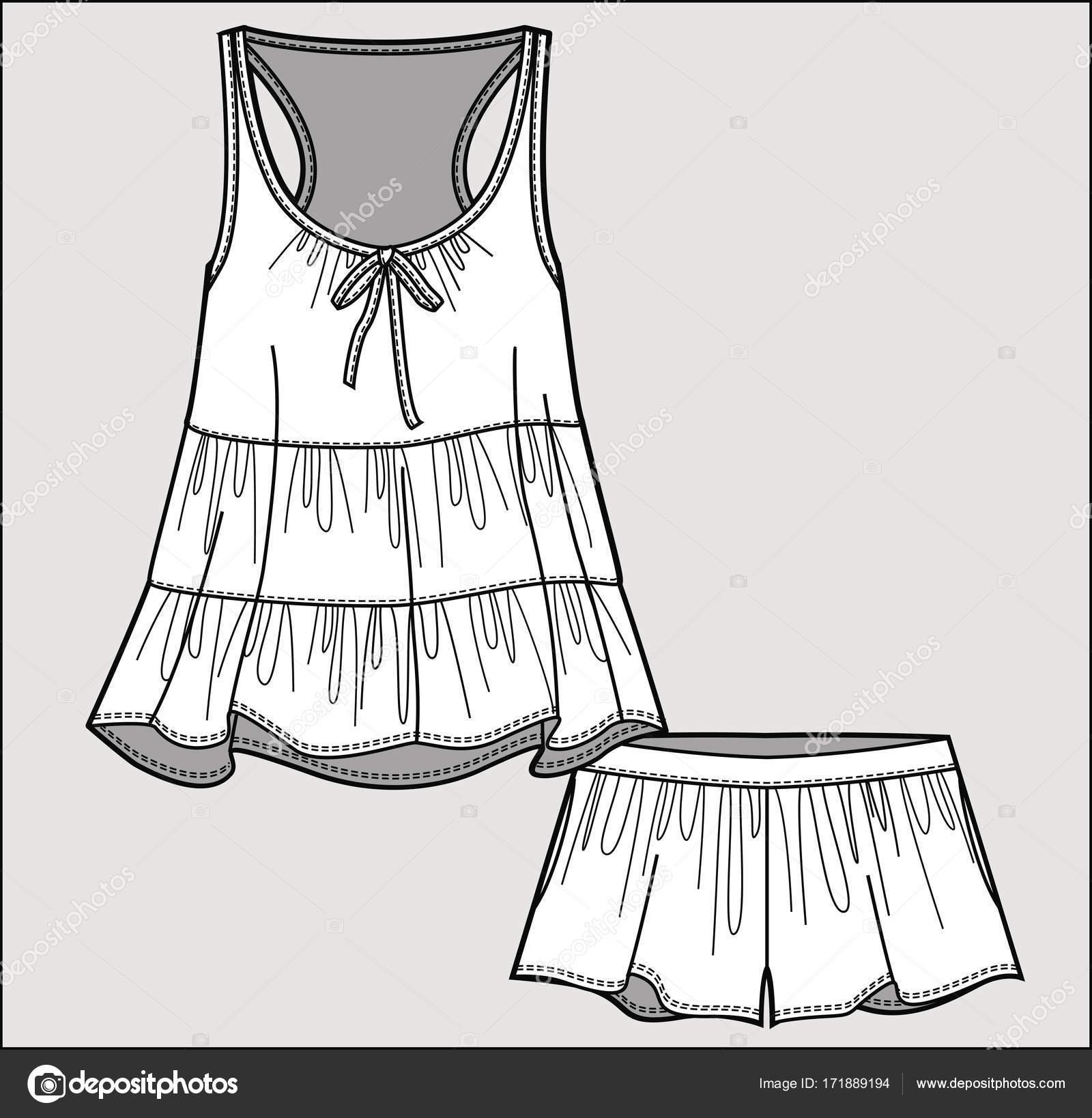 silk pajama set romantic top shorts isolated vector stock vector