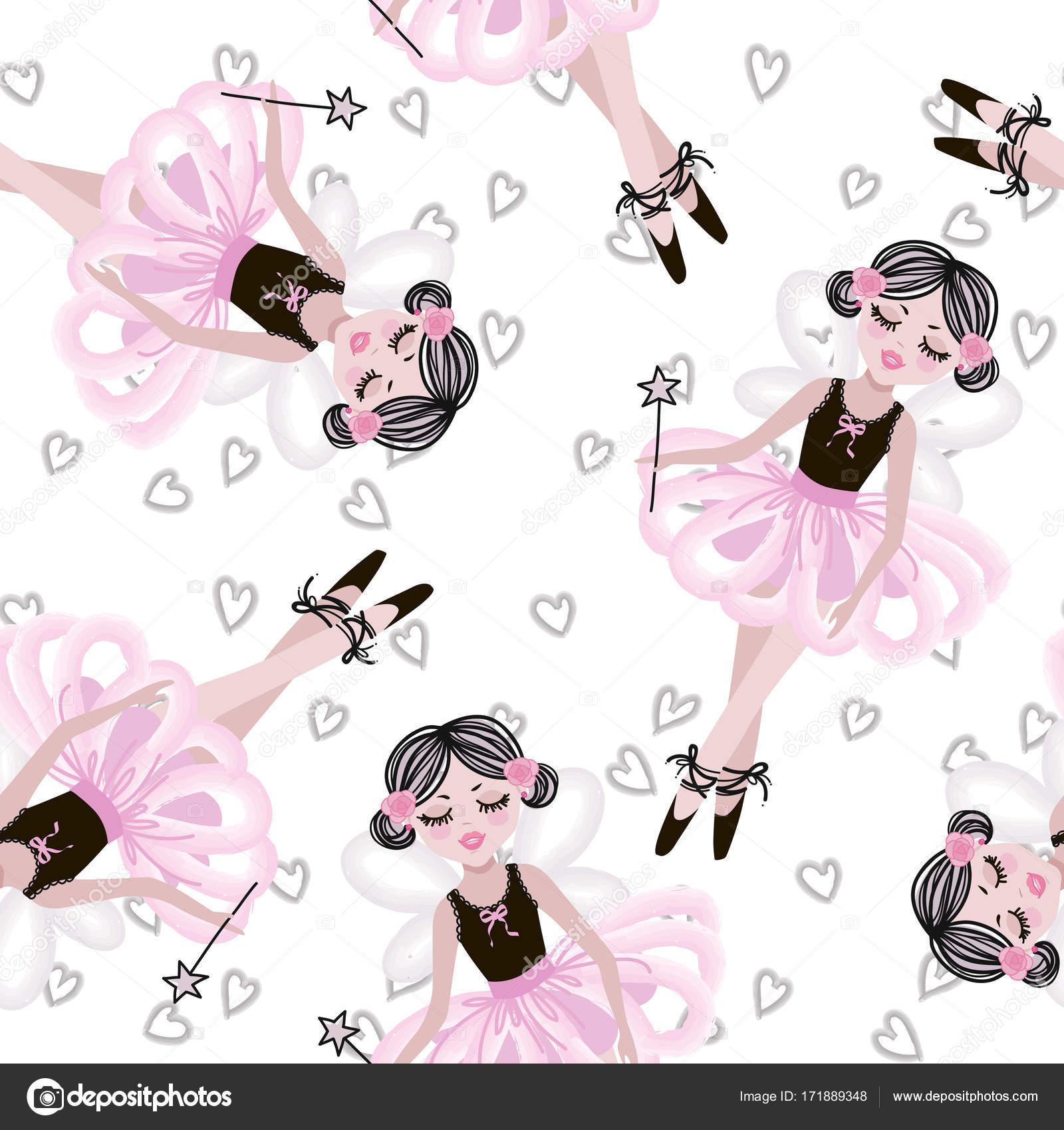 0182aff9c715 Cute Dancing Ballerina Girls Pink Tutus Vector Seamless Pattern Baby ...