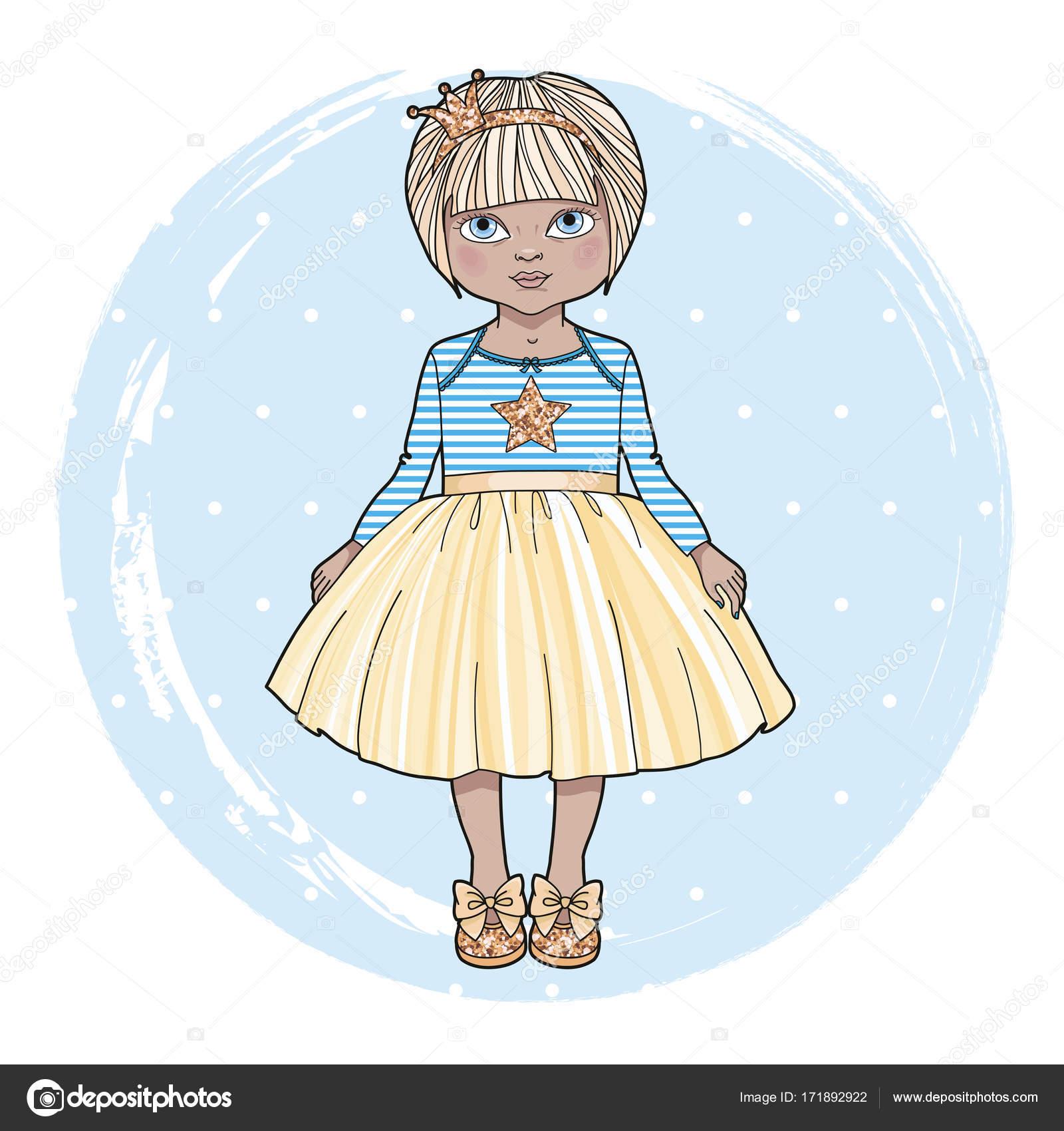 Douce Petite Fille Personnage Dessin Animé Mignonne Petite