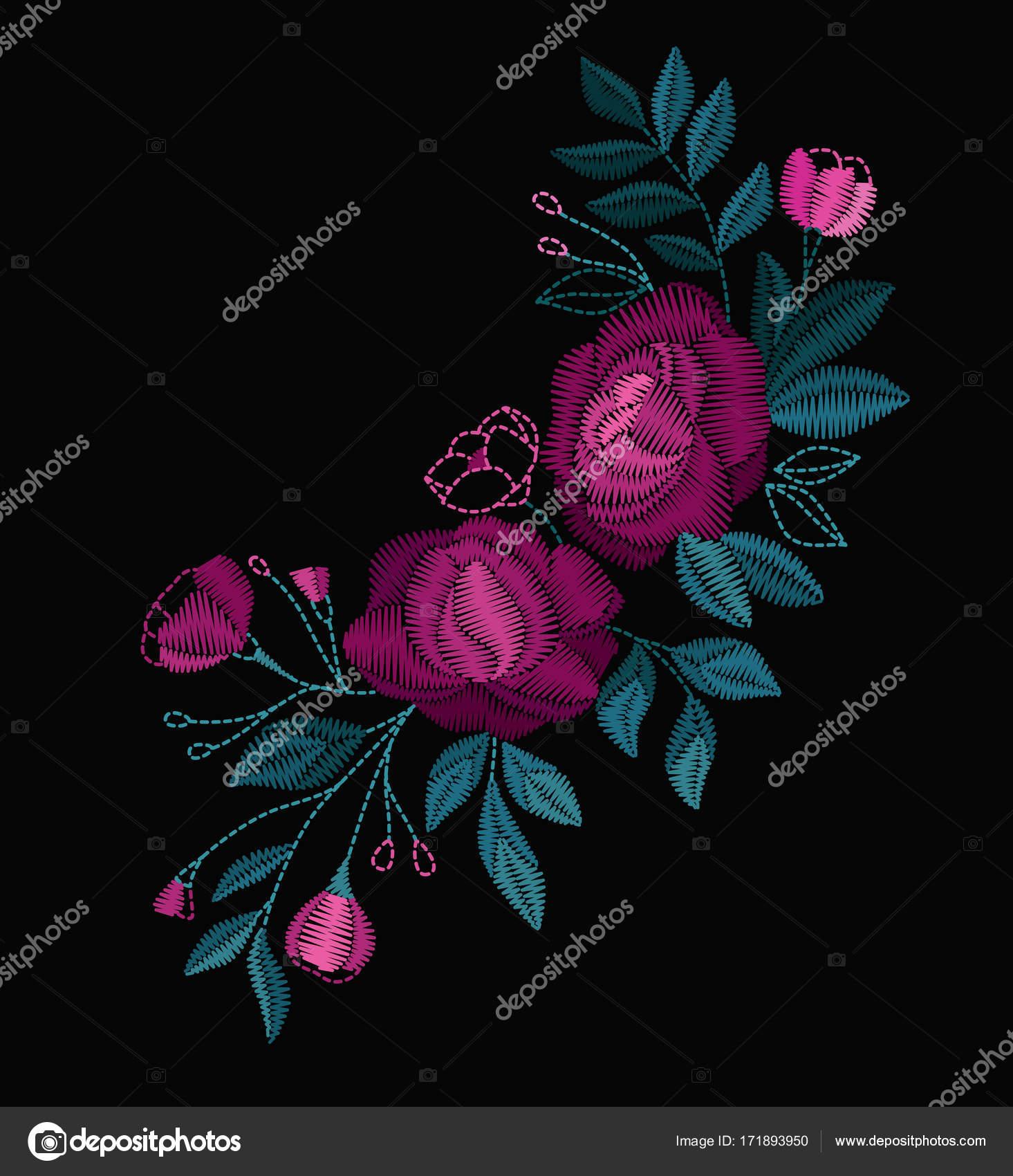 Colores De Flores Para Bordar Vector Diseno Collar Camisetas