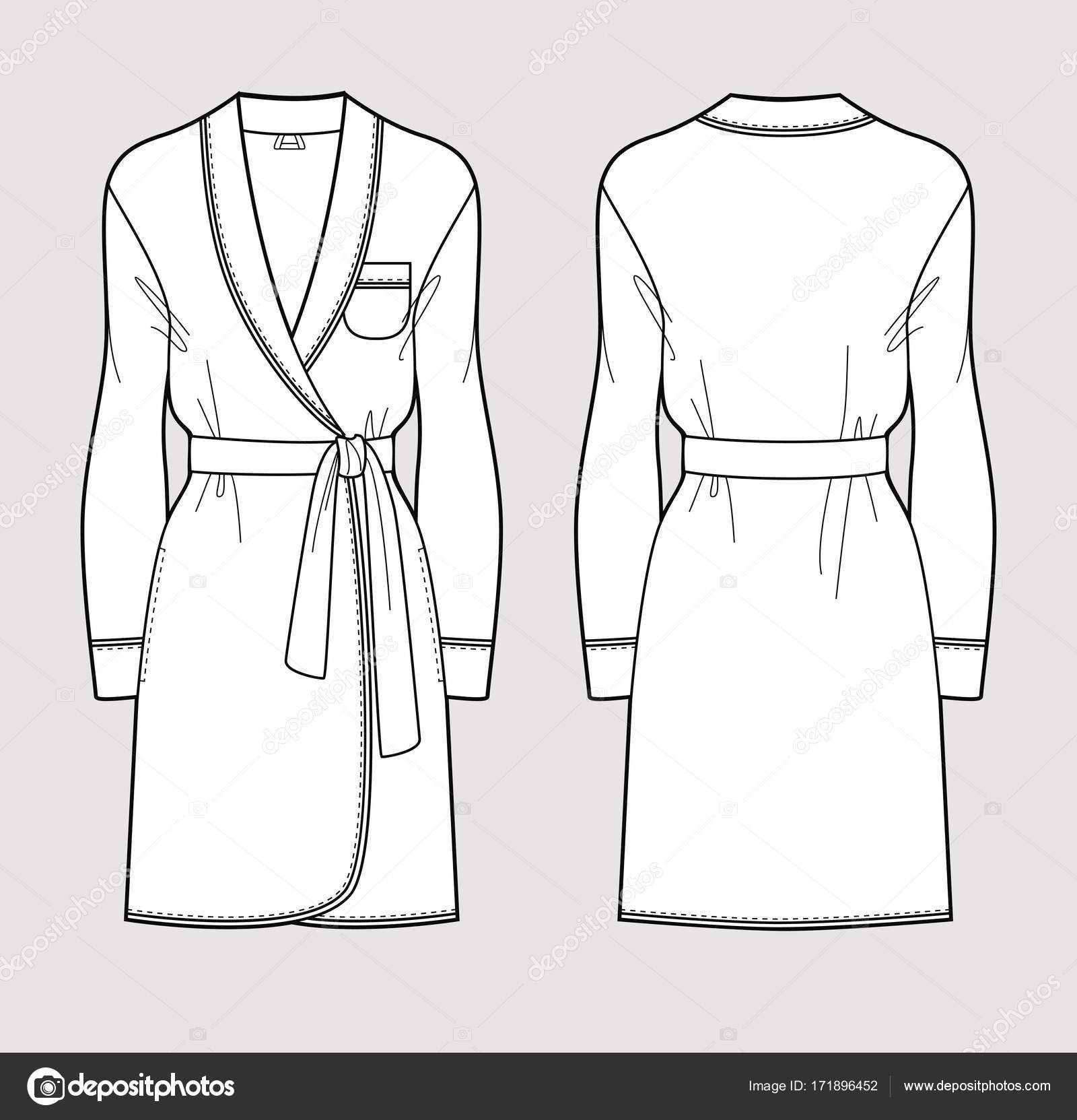 Silk Bathrobe For Women Isolated Vector Front And Back Views Vector Image By C Alushka Vector Stock 171896452