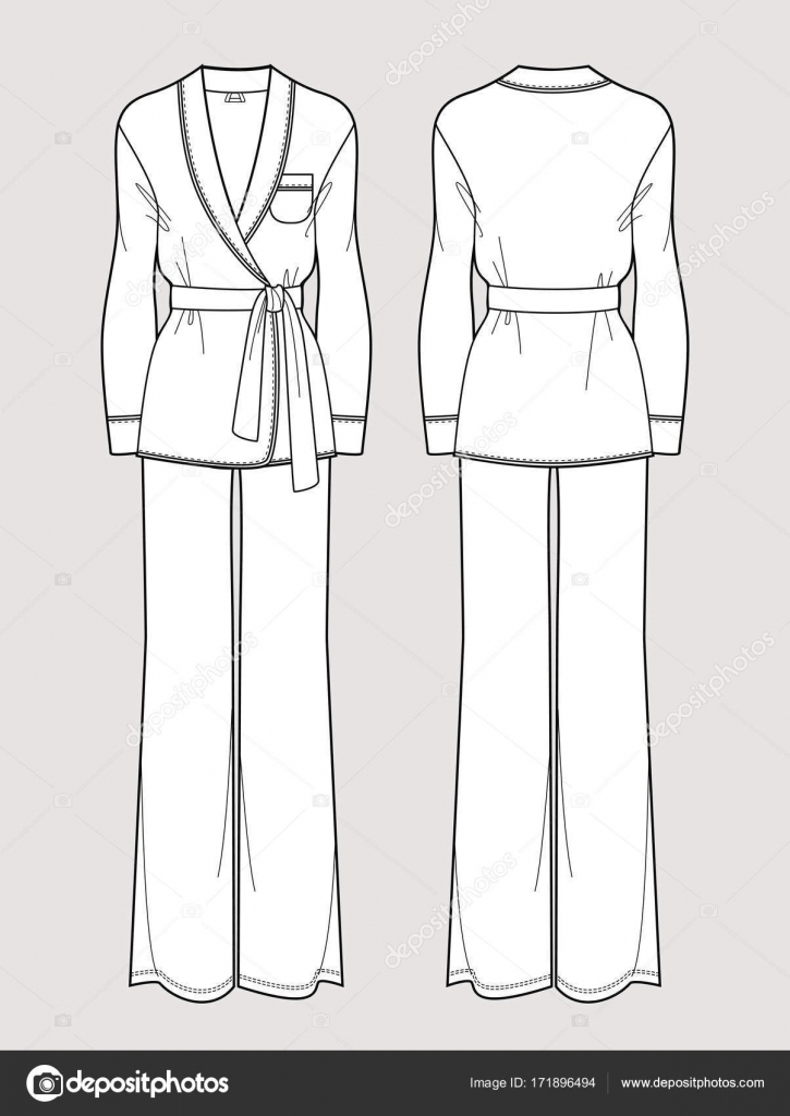 silk pajama set cardigan and pants isolated vector front and back