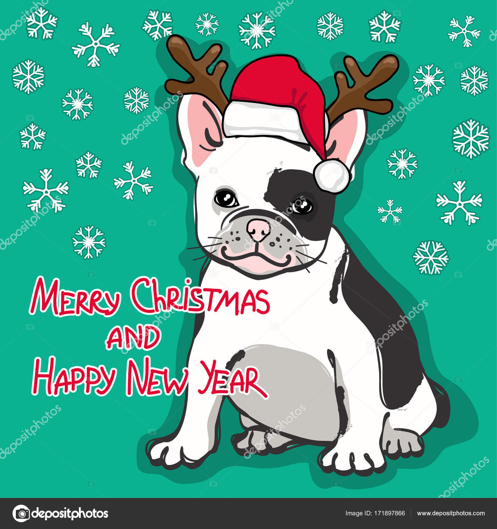 christmas and happy new year card abstract card with cute french bulldog in santa hat