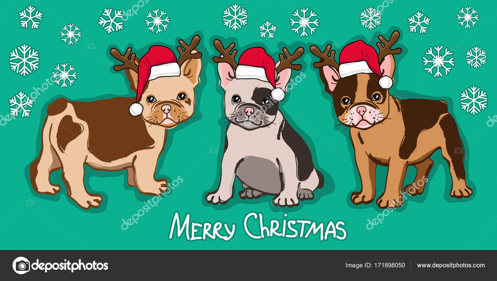 Merry Christmas card. Abstract card with cute french bulldog in ...