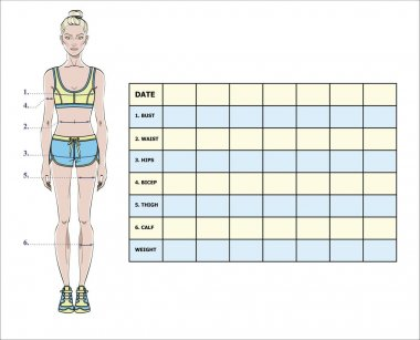 Measurement chart of body parameters for sport and diet effect tracking. Blank weight loss table layout. Chest, waist, hips, arms, thighs measurements recording. Vector illustration.