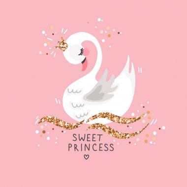 Sweet princess swan on pink background. Cartoon hand drawn vector illustration.