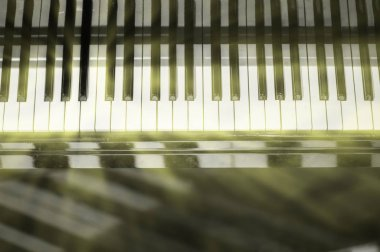 Piano keyboard background with selective focus and blur