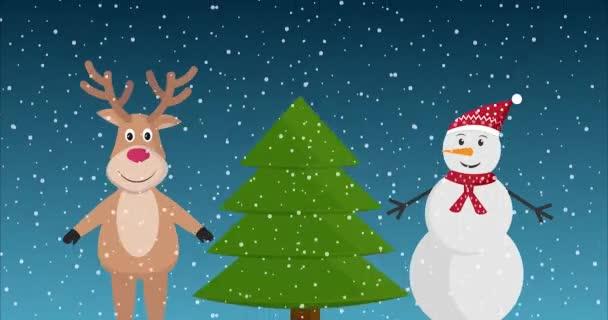 Veselé Vánoce gratulace animované video se soby a sněhuláka