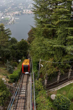 Arrival view of the Como-Brunate funicolare tram