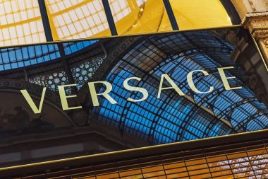 Sign on Versace store in Milan