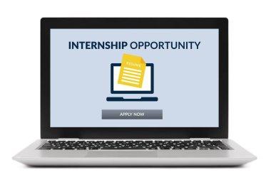 Internship concept on laptop computer screen