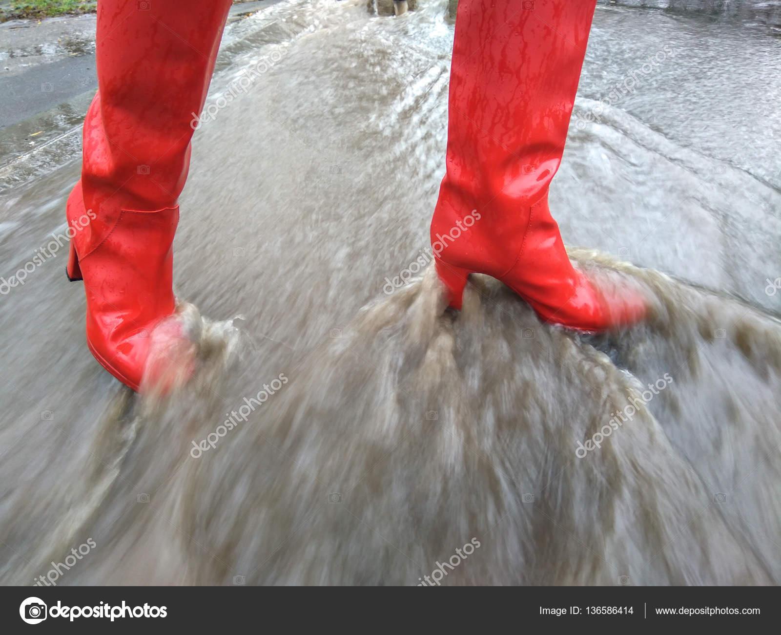 In Laarzen Een Regenachtige Meisje Hoge Rubber Hak Dag FKJ1cl