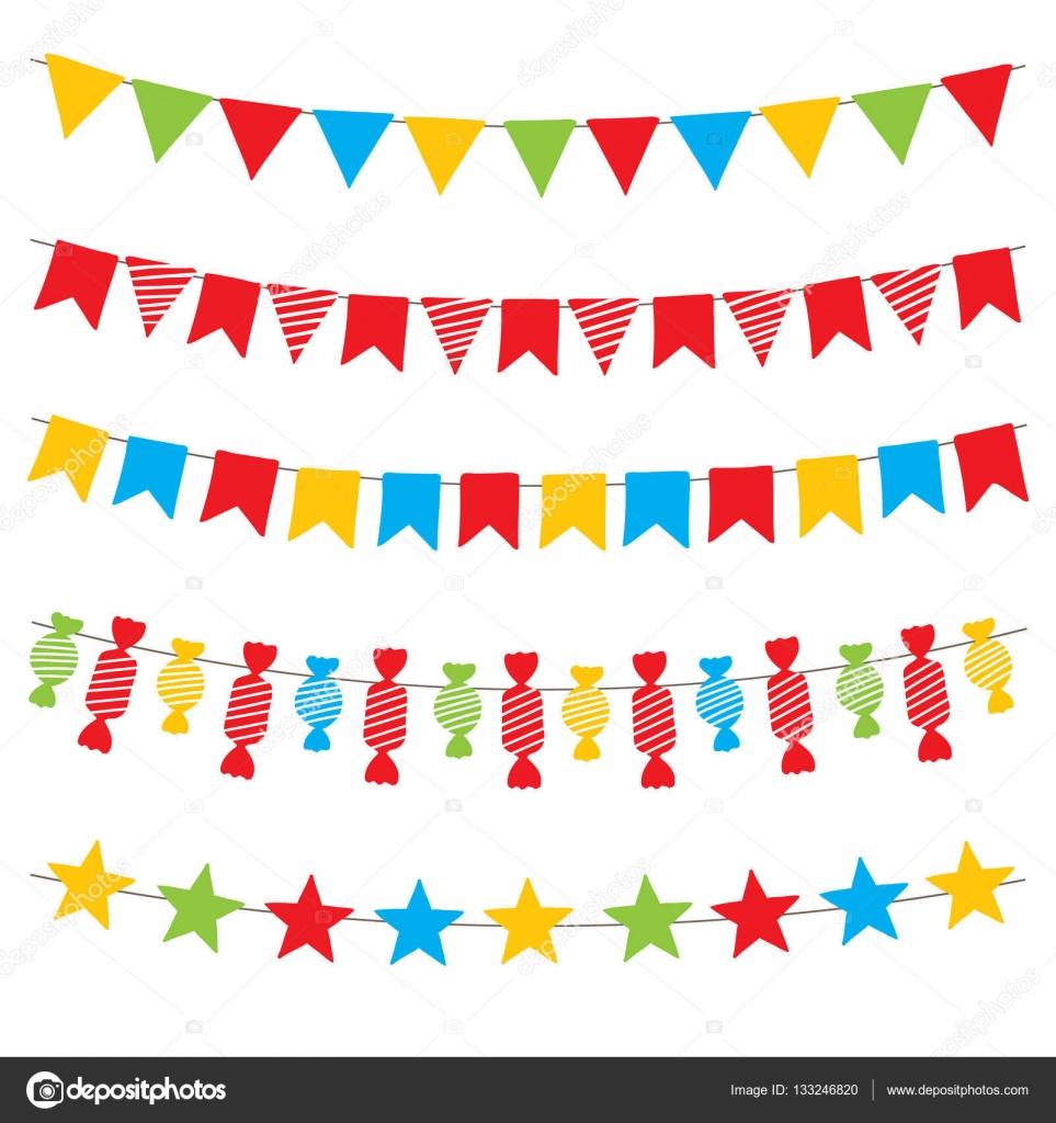 Vector de banderas y guirnaldas de banderines de colores for Guirnaldas para imprimir
