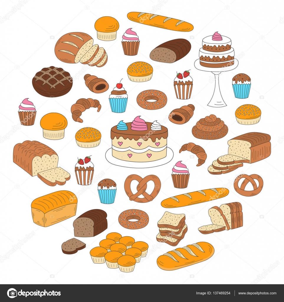 パン菓子のコレクション白で隔離落書きベクトル イラスト ストック