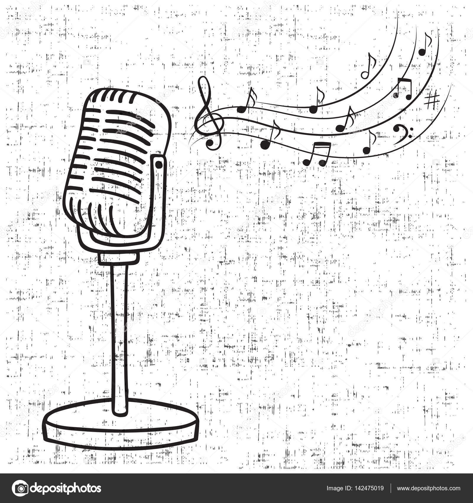 Old Microphone And Music Notes Hand Drawn Vector Vintage Music