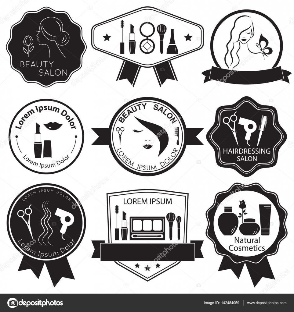 Conjunto de plantillas de logotipo de belleza, etiquetas, placas ...