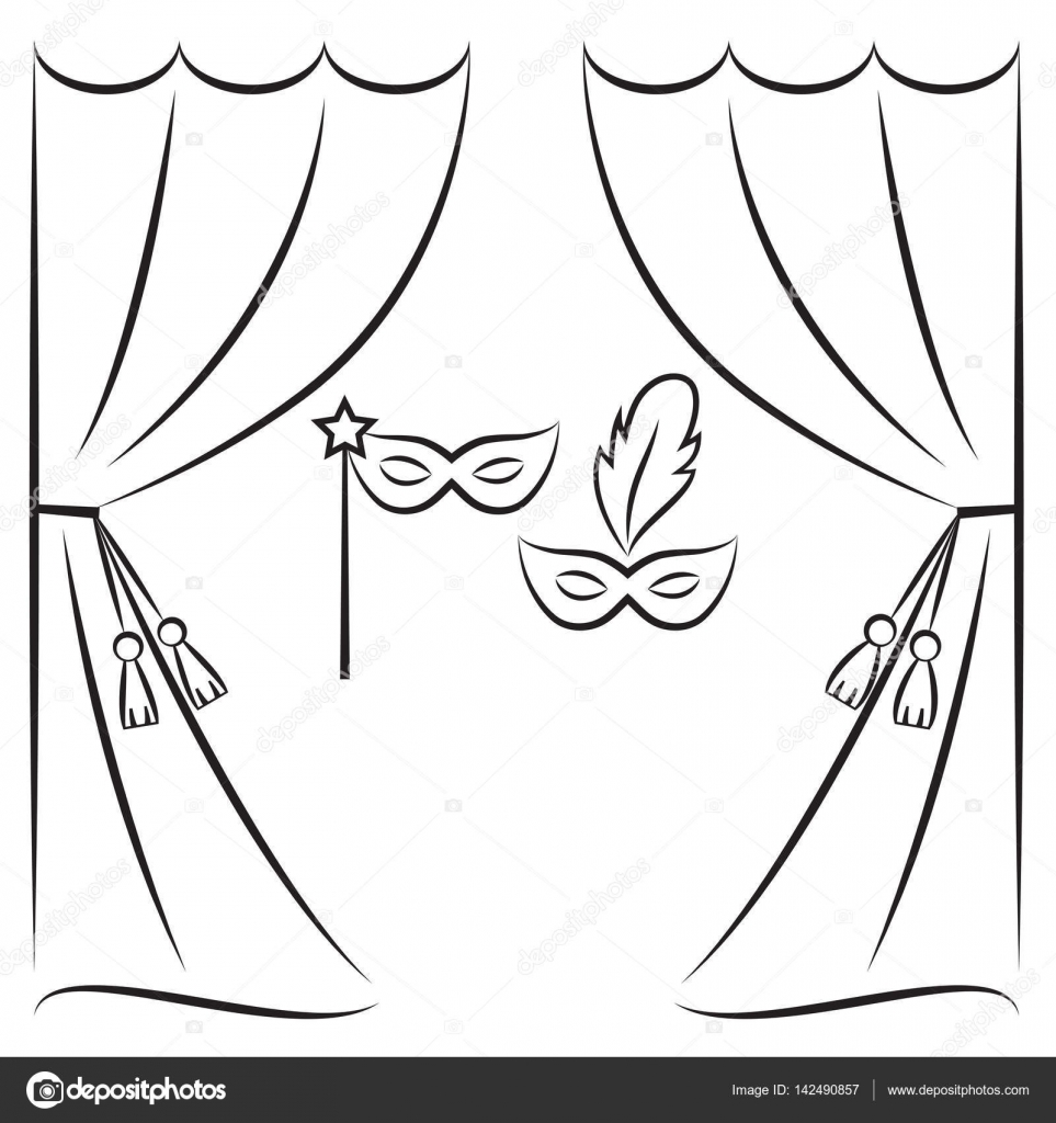 Black and white stage curtain - Theater Curtain And Masks Vector Line Illustration Stock Vector 142490857