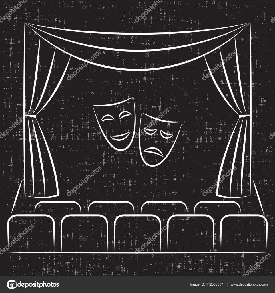 Escenario de teatro con cortina, asientos, comedia y tragedia ...