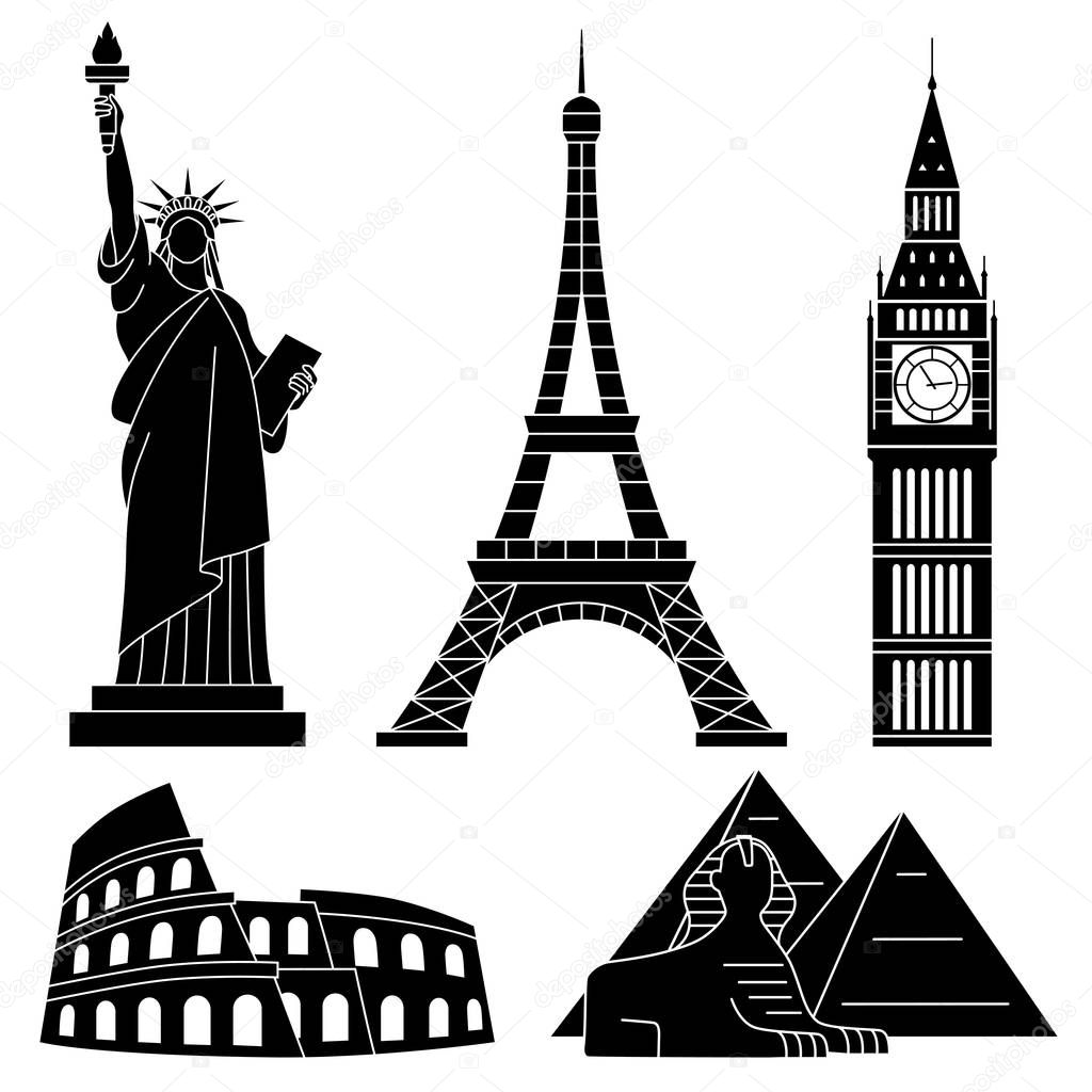 monuments du monde la tour eiffel statue de la libert big ben colis e sphinx jeu de plat. Black Bedroom Furniture Sets. Home Design Ideas