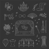 Soubor divadla ikony ručně kreslené vektorové, doodle